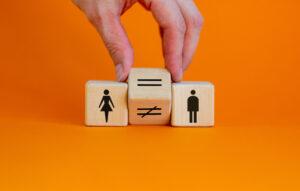 Trzy klocki drewniane na pomarańczowym tle. Pierwszy od lewej przedstawia postać kobiety, po prawej - mężczyznę. Między nimi jest ten, na którym znajduje się znak równości, zastępujący znak nierówności.
